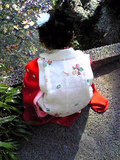 小川を見つめる娘